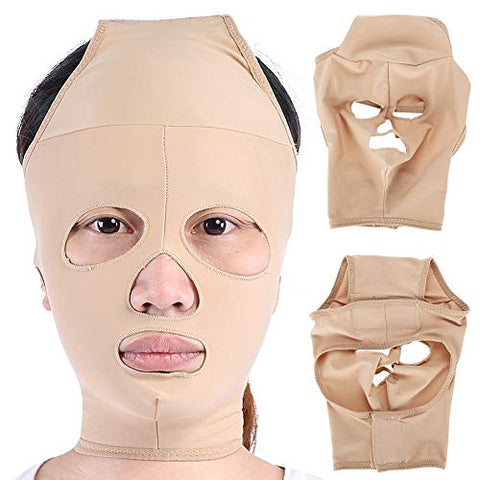 V Face Massager Bandage, Chin Neck Lift Up Bandage Correction Belt Facial Double Chin Lifting Belt for Chin Neck Lift Up Bandage Correction Belt(M)