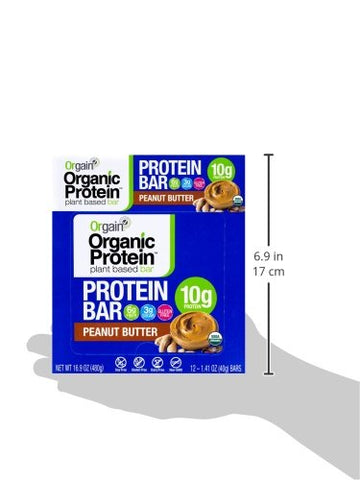 Orgain Organic Plant Based Protein Bar, Peanut Butter - Vegan, Gluten Free, Non Dairy, Soy Free, Lactose Free, Kosher, Non-GMO, 1.41 Ounce, 12 Count (Packaging May Vary)