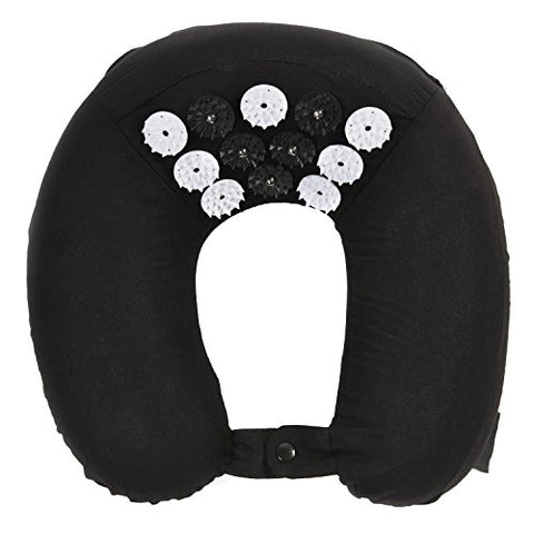 ZenGuru Best Acupressure U-Shaped Neck Pillow - Sale - Effective Remedy for Neck & Shoulders Pain and Stress Relief - with Magnet Therapy - Lifetime Money Back (Black)