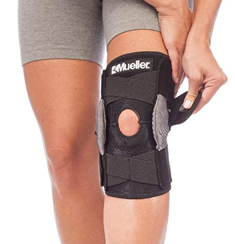 Mueller Sports Medicine Adjustable Hinged Knee Brace, Black/Gray, One Size Fits Most