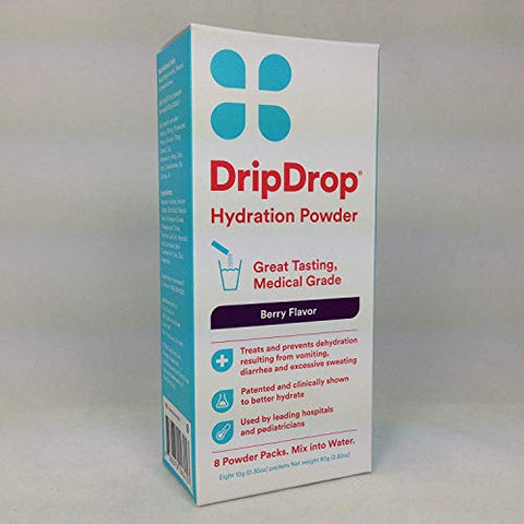 Drip Drop Hydration Powder Berry Flavor 8 Packets Per Box (2 Boxes)