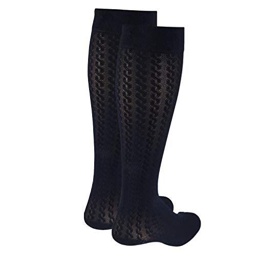 Truform Compression Socks, 15 20 Mm Hg, Women's Dress Socks, Knee High Over Calf Length, Navy Cable K