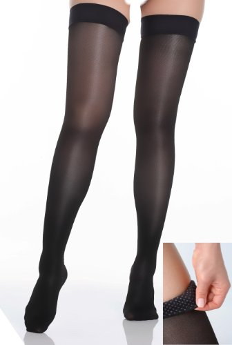 BriteLeafs Sheer Compression Stockings Thigh High 20-30 mmHg, Firm Support, Stay-Up Silicone Band, Closed Toe (Large, Black)