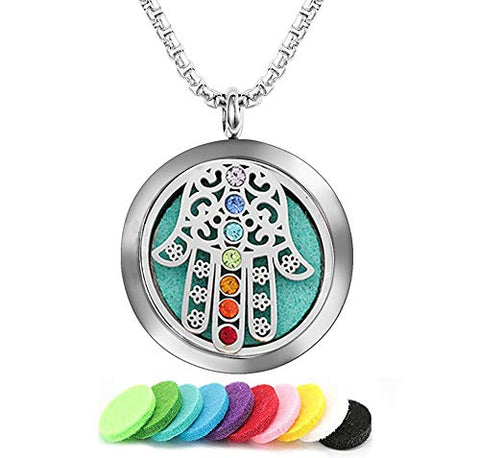 GFONDINGD 7 Chakra Aromatherapy Essential Oil Diffuser Necklace Stainless Steel Locket Pendant