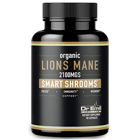 Organic Lions Mane Mushroom Capsules   Maximum Dosage + Absorption Enhancer   Nootropic Brain Supple