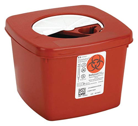 Sharps Container, 1/2 Gal, Rotor Lid, PK5