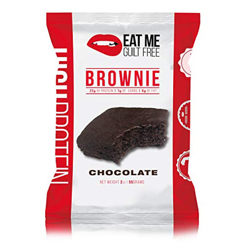 Eat Me Guilt Free High Protein Brownie:Healthy Low Carb Snack or Dessert, 20g Protein, Chocolate (12 Count)