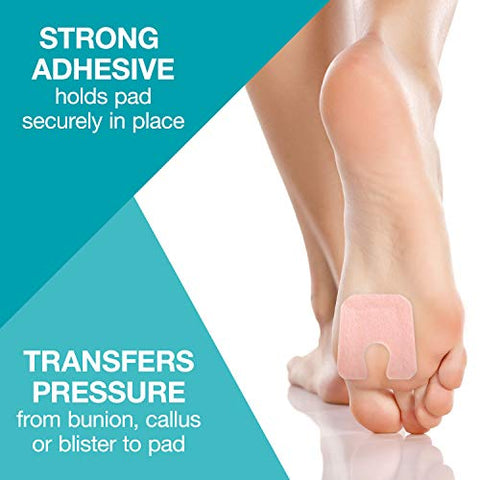 Steins 1/8? Adhesive Felt Callus Pads with Skived Edge and U-8 IPK Padding, Pre-Cut, U-Shaped, Reduces Pain and Pressure with Bunions, Calluses or Blisters, 100 Count