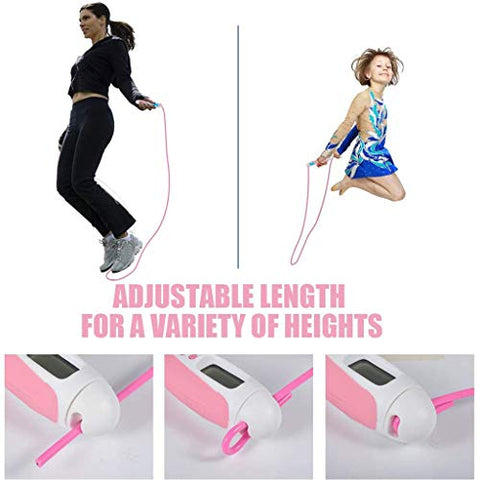 heavKin Adult Jump Rope Electronic Digital Time Setting Counting Exercise Adjustable Weight-Bearing Skipping Rope (Pink, 1x Skipping Rope)