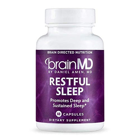 Dr. Amen brainMD Restful Sleep - 60 Capsules - Promotes Relaxation & Calm, Contains Melatonin, Valerian, GABA & Magnesium, Non-Habit Forming - Gluten-Free - 15 Servings