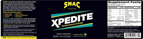 SNAC XPEDITE Preworkout Performance Energy Drink Supplement, Green Apple Pre Workout Powder, 320 Grams (24 Servings)