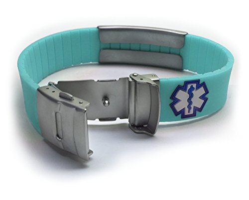 Silicone Sport Medical Alert Id Bracelet   Teal (Incl. 6 Line Of Custom Engraving). Choose Your Colo