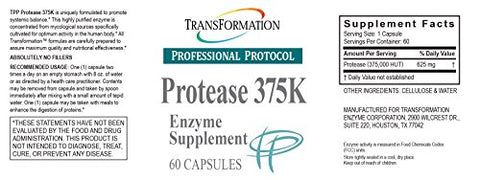 Transformation Enzymes Protease 375K, 60 Capsules - #1 Practitioner Recommended - 375,000 Units of Protease Activity - Supports circulation of Oxygen and Nutrients To The Cell For Health and Vitality,
