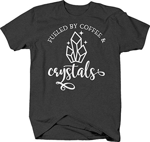Fueled by Coffee and Crystals Vibration Energy Caffeine Vibes T Shirt for Men Small