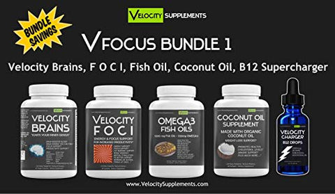 VFOCUS Focus Supplements Bundle 1 - Velocity Brains, Velocity FOCI, Omega 3 Fish Oils, Coconut Oil Supplements, Velocity Charger B12