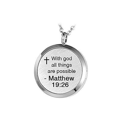 Daisy Jewelry Aromatherapy Essential Oil Diffuser Religious Cross Necklace With God All Things Are Possible Locket Pendant, 12 Refill Pads (Engraved)