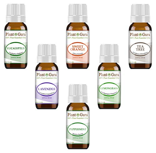 Essential Oil Set 6-10 ml Therapeutic Grade 100% Pure Tea Tree, Lavender, Eucalyptus, Lemongrass, Peppermint & Sweet Orange. For Skin, Body And Aromatherapy Diffuser