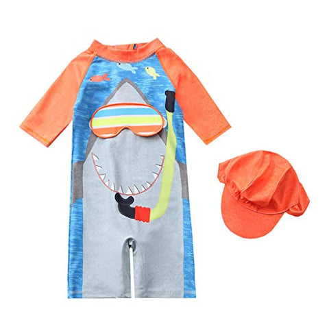 Boys Girls Short Sleeve Swimwear Cartoon One-Piece Swimsuit Bathing Suits + Hat,for 1-7Y Baby/Kids (Gray, 6-7 Years)