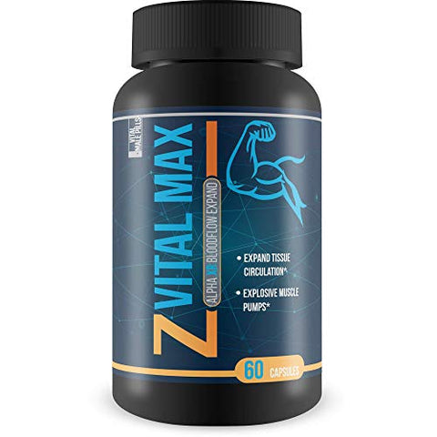 Z Vital Max N02 - Alpha XR Bloodflow Expand - Expand Veins and Tissues with Increased Blood Flow - Made with potently sourced L-Argenine a Natural vasodialator - Great for preworkout or pre Activity