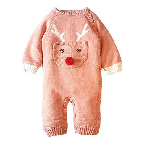 Newborn Baby Girl Boy Romper Christmas Deer Plush Sweater Knitted Romper Jumpsuits Xmas Outfit Set (0-6 Months, Pink)