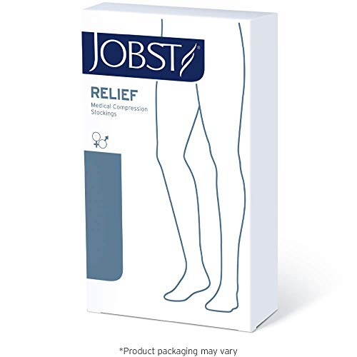 JOBST Relief Thigh High 15-20 mmHg Compression Stockings, Closed Toe with Silicone Dot Band, Medium, Black