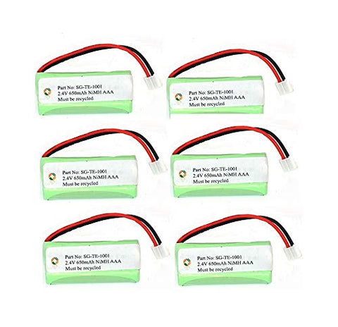 SPS Brand 2.4V 650mAh Replacement Battery for VTech 6122 (6 Pack)