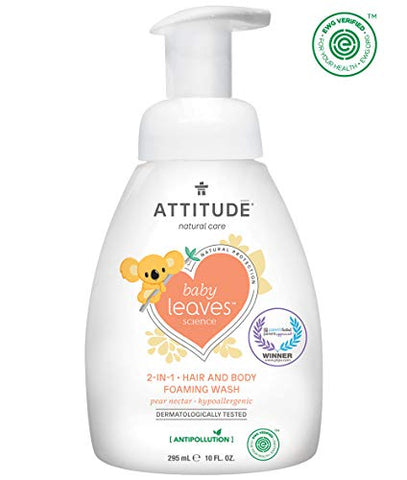 ATTITUDE Baby Leaves, Hypoallergenic 2 in 1 Shampoo & Body Foaming Wash, Pear Nectar, 10 Fluid Ounce