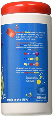 Color My Bath   300 Tablet Jar   Fizzing Tub Water Primary Color Changing Tabs, Fun And Educational
