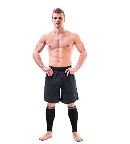 Copper Compression Recovery Calf Sleeves - Shin Splint Leg Sleeves. Guaranteed Highest Copper Content + Graduated Compression. Great for Running + Sports. Support Sore Muscles + Joints (1 Pair Small)