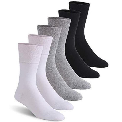 Diabetic Socks, Feelwe Crew Cotton Ankle Socks Loose Top Non Binding Cotton Wide with Seamless Toe 6 Pairs Dark Grey/Light Grey/White L