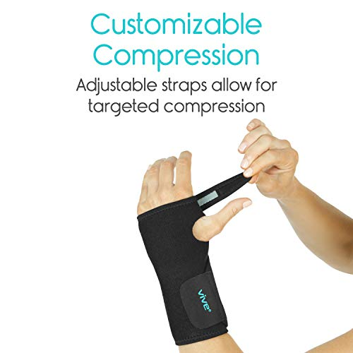 Vive Wrist Brace - Carpal Tunnel Hand Compression Support Wrap for Men, Women, Tendinitis, Bowling, Sports Injuries Pain Relief - Removable Splint - Universal Ergonomic Fit, One Size Right Hand