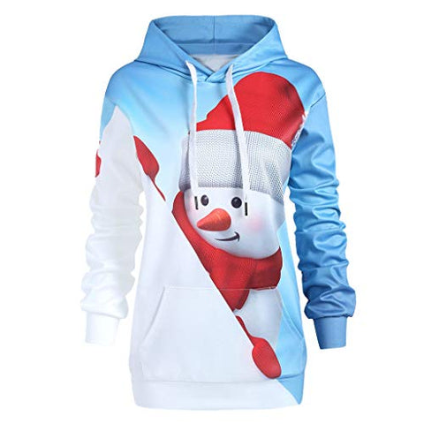 Women Christmas Hoodies with Kangaroo Pocket Cartoon Xmas Snowman Print Pullover Sweatshirt Outwear (4XL,White)