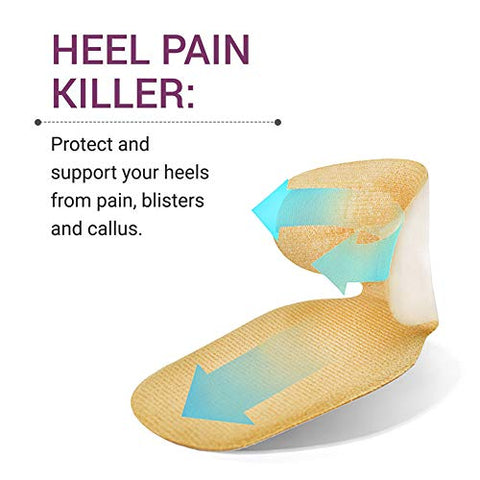 iBesun High Heel Pads, Heel Grips, Heel Cushion Inserts, Heel Insoles, High Heel Forefoot Cushion, Anti Slip Heel Shoe Cushion Inserts, Heel Snugs for Women (Beige)