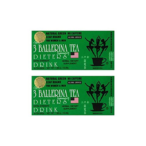3 Ballerina Tea Dieters Drink, Extra Strength, 18-Count Tea Bags (Pack of 2)