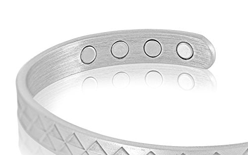 Native Edge Pure Copper Magnetic Bracelet, Arthritis Pain Reliever, 8 Powerful Magnets, Adjustable Size for Men and Women, Brushed Silver