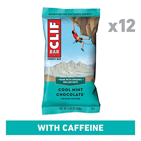 CLIF BAR - Energy Bars - Cool Mint Chocolate with Caffeine, 2.4 Ounce (12 Count)