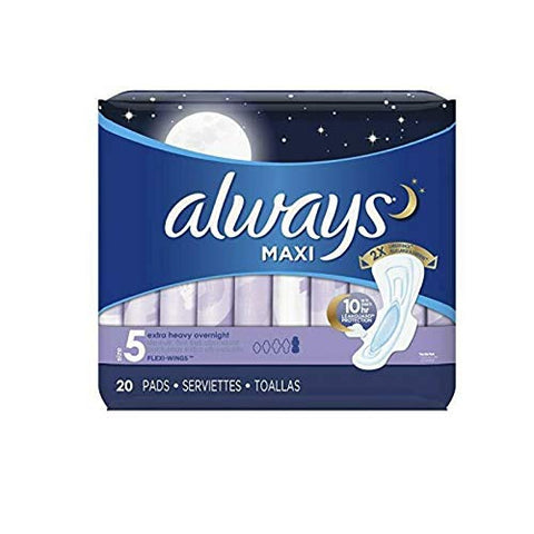 Always Maxi Overnight Extra Heavy Flow With Wings, Unscented Pads 20 Count (Pack of 4)