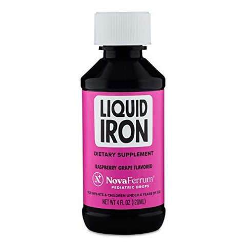 Nova Ferrum Pediatric Drops Liquid Iron Supplement For Infants And Toddlers 4 Fl Oz (120 M L)   Raspbe