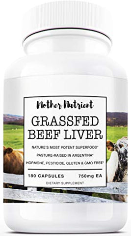 Beef Liver Capsules, 100% Grassfed New Zealand Dessicated Liver. Freeze Dried And Undefatted. 180 Co