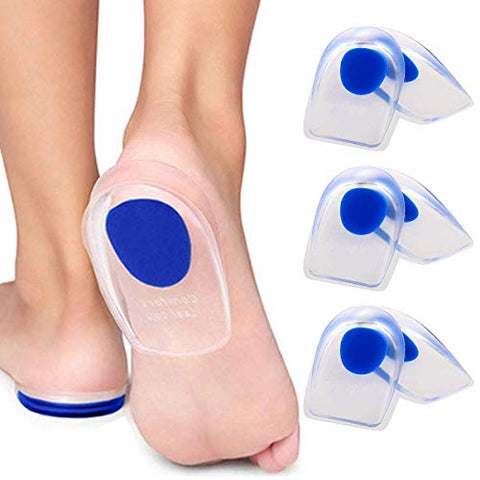 3 Pair Gel Heel Cups Plantar Fasciitis Inserts - Silicone Gel Heel Pads for Heel Pain, Bone Spur & Achilles Pain, Gel Heel Cushions and Cups, Pad & Shock Absorbing Support(Blue Small)