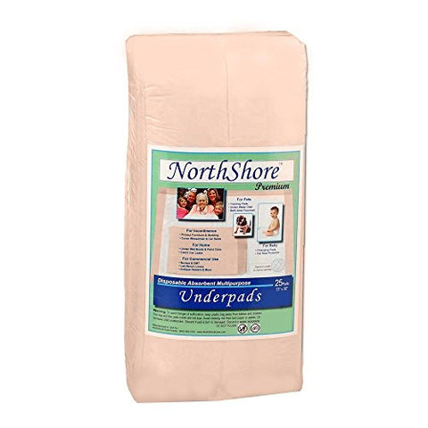 NorthShore Premium, 23 x 36, 42 oz, Peach Super-Absorbent Underpads (Chux), Large, Pack/10