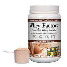 Whey Factors by Natural Factors, Grass Fed Whey Protein Concentrate, Aids Muscle Development and Immune Health, Double Chocolate, 12 oz (12 servings)
