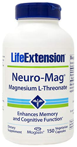Life Extension Neuro-Mag Magnesium L-Threonate, 150 Veg Caps, Magtein Supplement for Women and Men