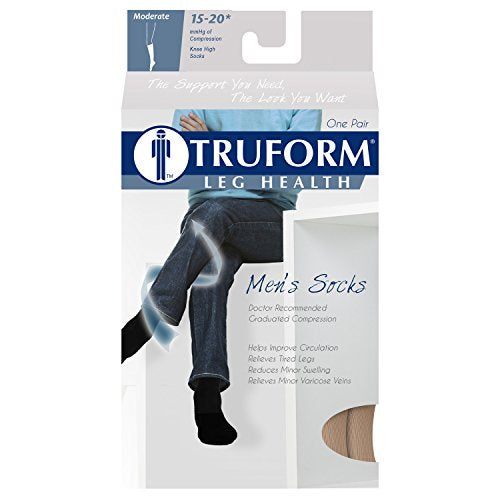 Truform Compression Socks, 15 20 Mm Hg, Men's Gym Socks, Knee High Over Calf Length, Tan, Small