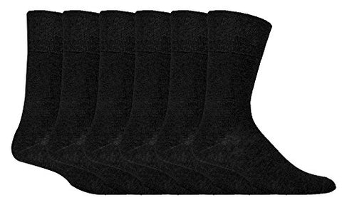 IOMI - 6 Pack Mens Thin Non Binding Extra Wide Loose Top Cotton Diabetic Socks (7-12 US, Black)