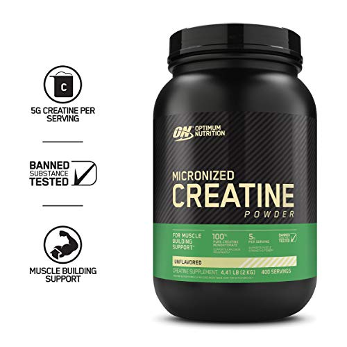 Optimum Nutrition Micronized Creatine Monohydrate Powder, Unflavored, Keto Friendly, 400 Servings (P