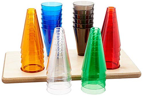 Rolyan Stacking Cones, Set of 12 Replacement Activity Cones with Acrylic Colors for Occupational Therapy, Physical Therapy, Hand Exercises, Perception, and Coordination, Base Not Included