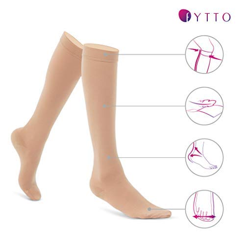 Fytto 1020 Opaque Compression Socks for Professionals 15-20 mmHg - Graduated Medical Support for Flight, Travel, DVT and Edema - Medium, Nude