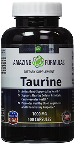 Amazing Formulas Taurine 1000mg Amino Acid Supplement 100 Capsules (Non Gmo,Gluten Free)   Potent An