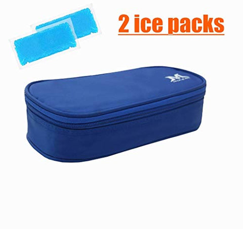 Mazel Insulin Pen Travel Case Diabetic Supply Organizer Cooler Bag with 2 Ice Packs,Keeps Insulin Cool for 8 Hours,Perfect to take on a Trip (Blue)
